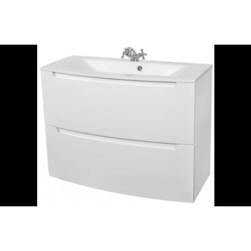 Шкаф консольный HeadWay 70 NEW (Белый глянец) с мебел. умывальником Дельта 70 ОР0002796