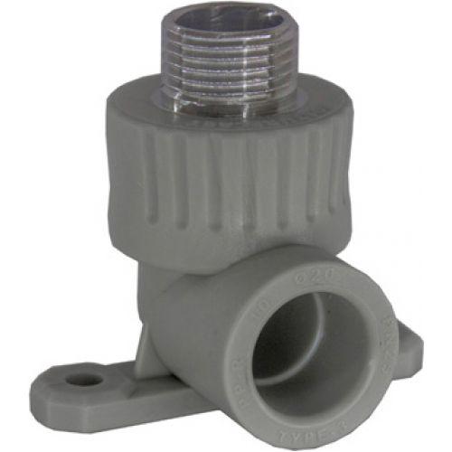 Угольник с креплением (водорозетка) с наружной резьбой  серый Ростурпласт